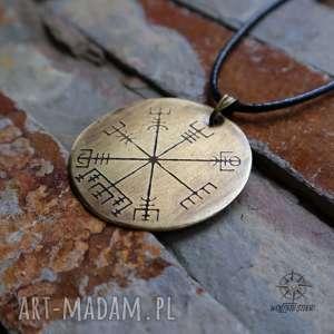 wisior z trawionego mosiądzu - vegvisir 061, vegvisir, kompas, runa, wikingowie