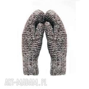 Dwuwarstwowe brązowe -melanż, rękawiczki, mitenki, dziergane, wełniane,