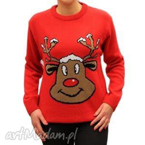 swetry sweter świąteczny unisex - renifer czerwony xs, s, m, l, xl, xxl, 3xl