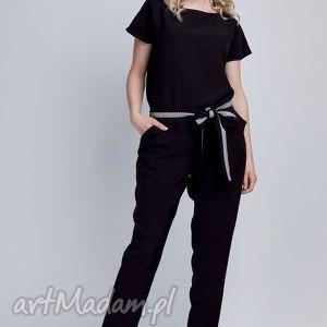 Kombinezon, KB102 czarny, kombinezon, spodnie, bluzka, elegancki, pasek, czarny