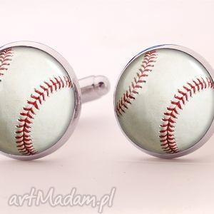 egginegg baseball - spinki do mankietów - czerwone spinki do piłka