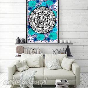 grafika mandala 50x70cm, mandala, kwiaty, plakat dom