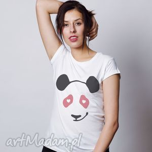 panda love biała koszulka funny bear, t shirt, panda, zabawna