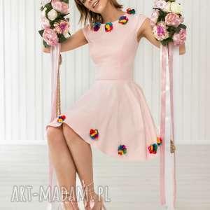 SUKIENKA BG-KW KOL.PUDROWY RÓŻ, rozkloszowana, różpudrowy, kwiatki, wesele, mini