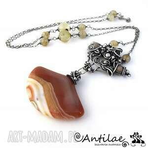 Karamela - Agat karmelowy, kwarc rutylowy, kamień słoneczny, agat, srebro, naszyjnik