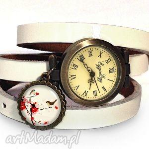 orientalne ptaszki - zegarek bransoletka na skórzanym pasku prezent