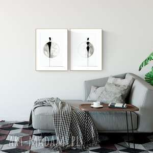 zestaw 2 grafik 30x40 cm wykonanych ręcznie, plakat, abstrakcja, elegancki