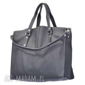 30-0030 grafitowa torebka skórzana z paskiem i kontrastowymi przeszyciami rook, modne