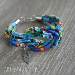 Bransoletka boho azteq knot with feather beezoo etniczna, styl