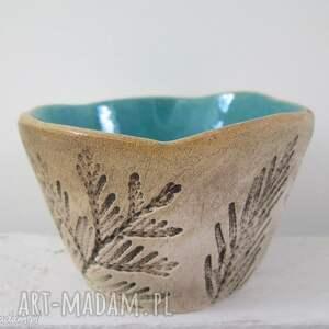 roślinna nieregularna miseczka z turkusem, miseczka, ceramiczna, turkusowa