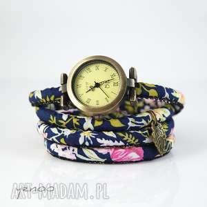 zegarek, bransoletka - granatowy,kwiaty, bransoletka, kwiaty, rzemień, boho