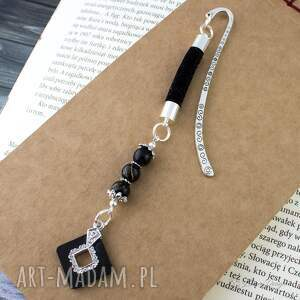 Mała zakładka do książki -Black Night, elegancka, akryl, koraliki, mała, rzemień