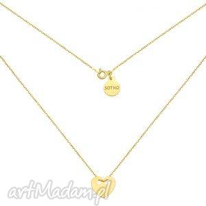 złoty naszyjnik z pełnym serduszkiem - minimalistyczny, zawieszka