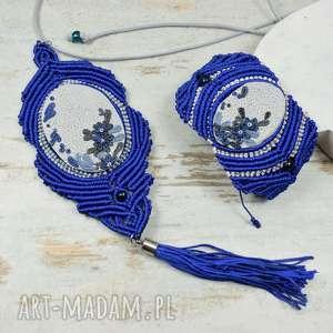Chabrowy kopmplet biżuterii, chabrowy, biżuteria-makrama, wisior-makrama