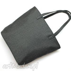 na ramię shopper bag bucket - tkanina antracyt, elegancka, nowoczesna, handmade