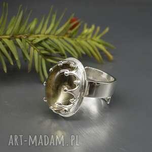 piękny cytryn, pierścionek arminas, srebrny, jasne srebro