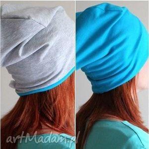 czapka dwustronna dwukolorowa dresowa beanie, dresowa, turkus, dwukolorowa, beanie