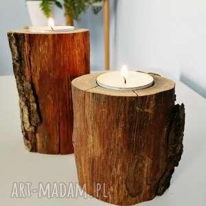 zestaw 2 świeczniki drewno - ,świecznik,świeczniki,drewno,drewniane,skandynawskie,