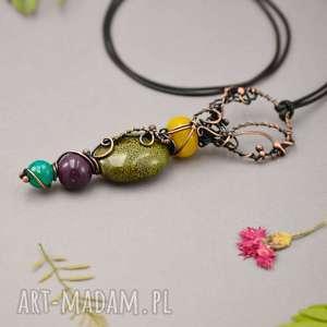 naszyjniki hippie ceramic - naszyjnik kolorowy, naszyjnik, wisior-boho