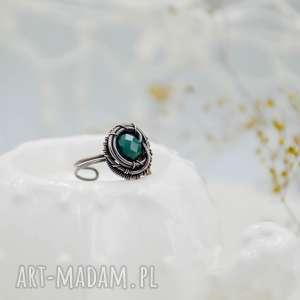 sea side - pierścionek ze szkłem, z miedzi, retro