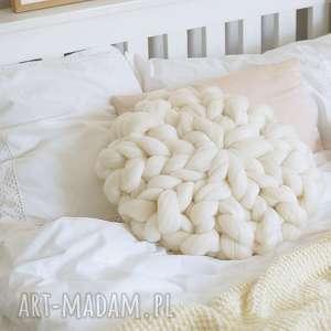 poduszka czesankowa - złamana biel, poduszka, dekoracyjna, czesanka, wełniana