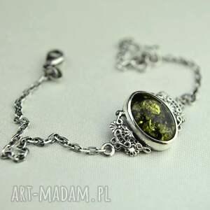 retro delikatna bransoletka z zielonym bursztynem srebro
