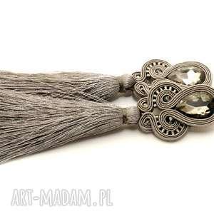 klipsy szare sutasz, sznurek, eleganckie, wiszące, wieczorowe, długie, chwost
