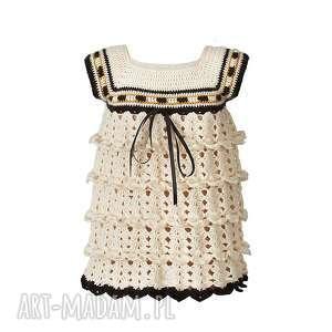 ubranka sukienka dziewczęca z falbankami włóczki kremowa, sukienka