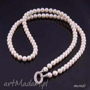 Długi naszyjnik z białych pereł - ,długi,naszyjnik,perły,biżuteria,biały,