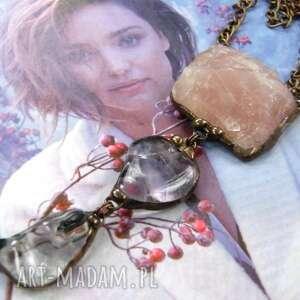 handmade naszyjniki secesyjny wisior z łańcuszkiem: kwarcu różowego