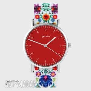 ręcznie zrobione zegarki zegarek - simple, czerwony folk biały, nato