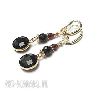 black -/03-11-18/ kolczyki, granat, onyks, onyksy, granaty, elementy-metalowe, szkło