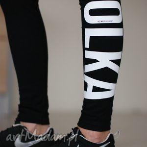 Fajne modne czarne legginsy z napisem nadrukiem matka polka red