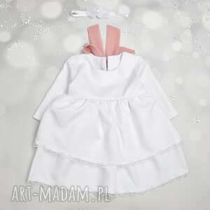 ręcznie wykonane sukienka z falbanami i szyfonowa kokarda do chrztu