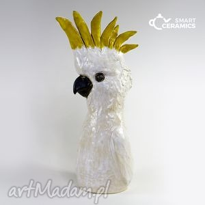 rzeźba kakadu - ceramika, dekoracja, rzeżba, prezent