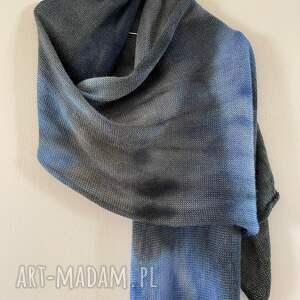 ręcznie wykonane szaliki szal z baby alpaki grafit&niebieski