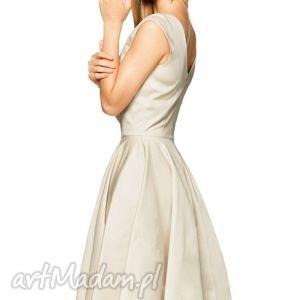 Sukienka SCARLETT Midi Beż, satyna, sukienka, wesele, elegancja, klosz, midi