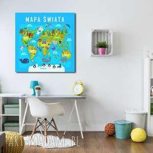 obraz xxl MAPA ŚWIATA 1 dla dzieci - 80x80cm na płótnie, obraz, mapa, świata