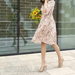 sukienka z falbanami - suk197 różowy wzór, falbankami, summer dress