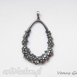 Zawieszka srebrna duża - Flowers, srebro, oksyda, wisior, zawieszka, biżuteria