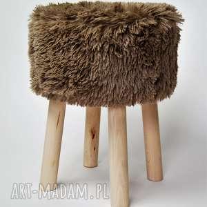 fjerne m brązowy futrzak, twórczykąt, fjerne, stołek, puf, siedzisko, drewno