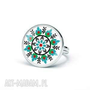 ludowelove pierścionek z grafiką wianuszek, oryginalny, ludowy, folk, prezent
