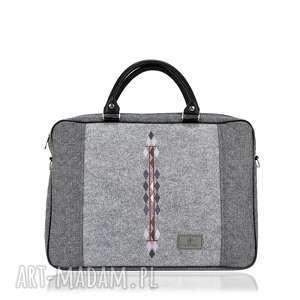 torba na laptopa romby 793, filcowa, haft, pikowana, szara, laptopowa