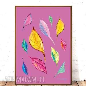 ręczne wykonanie plakaty 30x40 kolorowa grafika do pokoju, ładny plakat do sypialni, kolorowy plakat do salonu, liście plakat