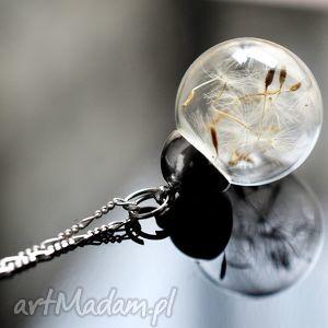 925 Srebrny łańcuszek z dmuchawcami, dmuchawiec, nasiona, kula, srebro, srebrny