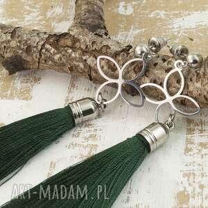 kolczyki chwosty zielone na sztyfty, chwosty, boho