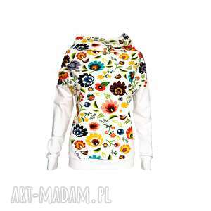 folkowa bluzka damska motyw łowicki folk , bluzkadamska, białabluzka, motywłowicki