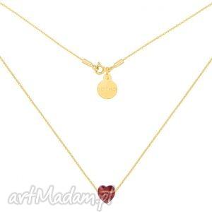 handmade naszyjniki złoty naszyjnik zdobiony bordowym serduszkiem swarovski® crystal