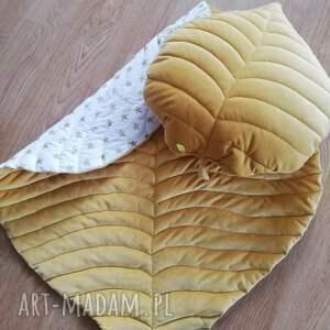 pokoik dziecka mata z poduszką w kształcie liścia, mata, dywanik, liść, velvet