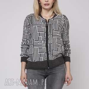 Rozpinany sweter, SWE151 grafit/ecru MKM, sweterek, rozpinany, kardigan, zamek